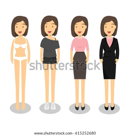 woman in different style clothes  standing isolated on white background. cartoon characters collection.