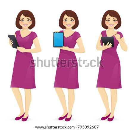 woman in dress with tablet