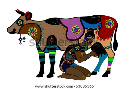 stock vector : Woman in ethnic style milks a cow on a white background