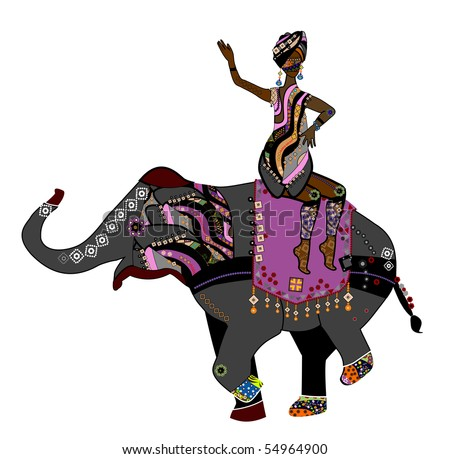 stock vector : Woman in ethnic style sits on the back of an elephant