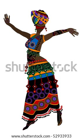 Woman in ethnic style with a white background(10.eps)