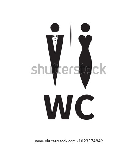 Woman in evening dress and man in tuxedo with bow tie. Unique icons for toilet, restroom, wc. Vector illustration
