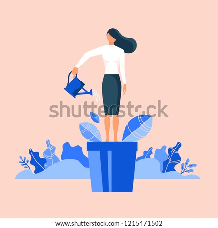 Woman in flowerpot watering herself. Flat design vector illustration concept for self-improvement, personal development, professional growth isolated on stylish background