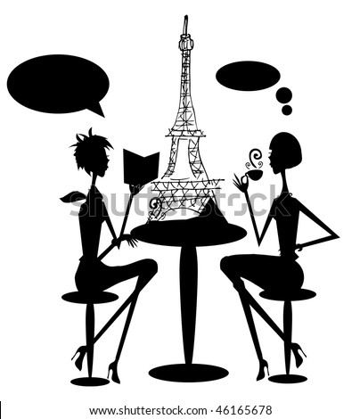 Eiffel Tower Cartoon. with Eiffel tower on the