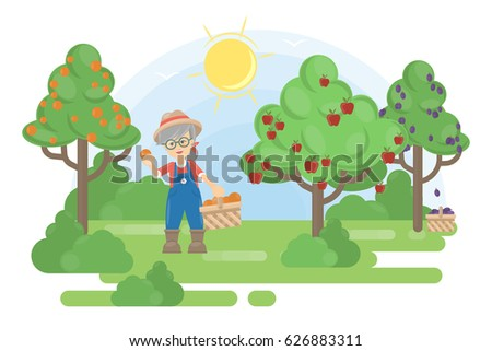 woman in garden senior farmer