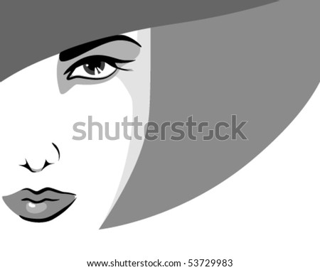 Stock Photo Woman in hat, in shades of gray
