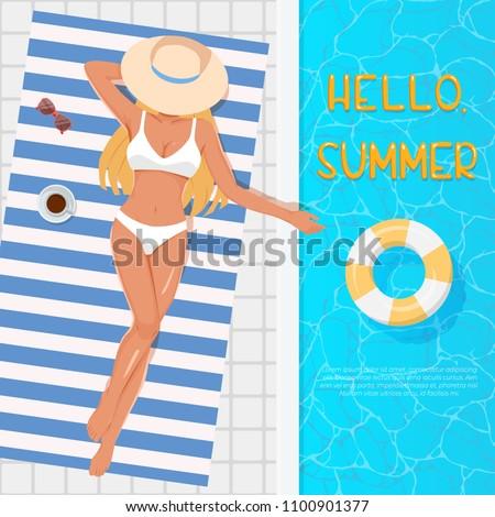 woman in hat sunbathing on the