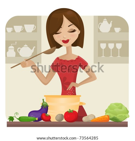 Woman in kitchen (vector version)