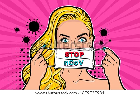 Woman in medical mask in pop art style. Coronavirus outbreak: A pop art blonde girl putting on a medical disposable mask to avoid contagious viruses. Pop art retro vector illustration vintage