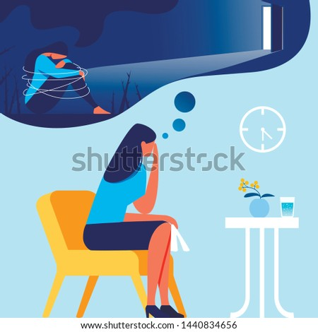 Woman in Office Psychologist. Out of Depression. Psychological Help. Vector Illustration. Training for Women. Depressed State. Woman in Blue T-Shirt. Human Consciousness. Depression Memories.