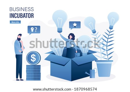 Woman in opened cardboard box. Businessman investor thinks, brainstorming. Successful businesswoman holds idea lightbulb. Business incubator. Tree with lightbulbs, new startup products. Concept vector