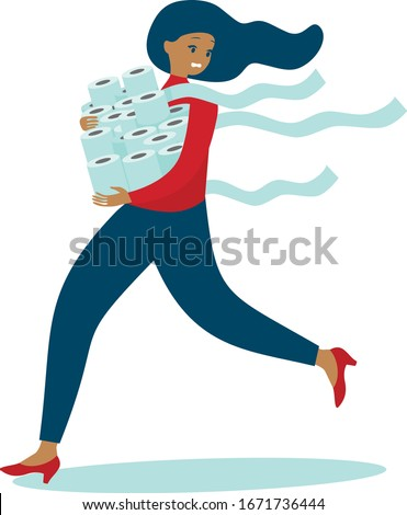 Woman in panic shopping in a supermaket grabs toilet paper in bulk due to coronavirus crisis. covid-19  pandemic concept. flat vector illustration