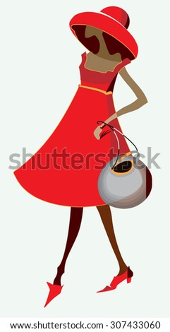 woman in red dress fashion