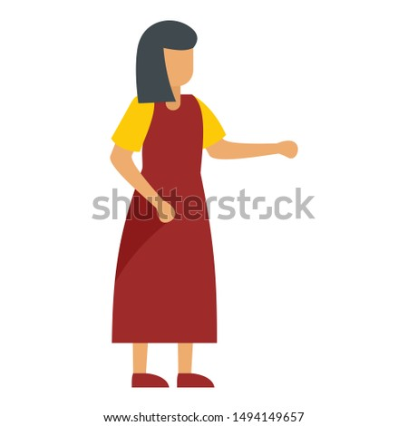 woman in red dress icon flat