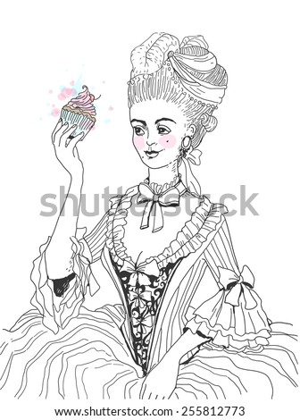woman in rococo style dress