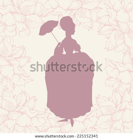 woman in rococo style gown with