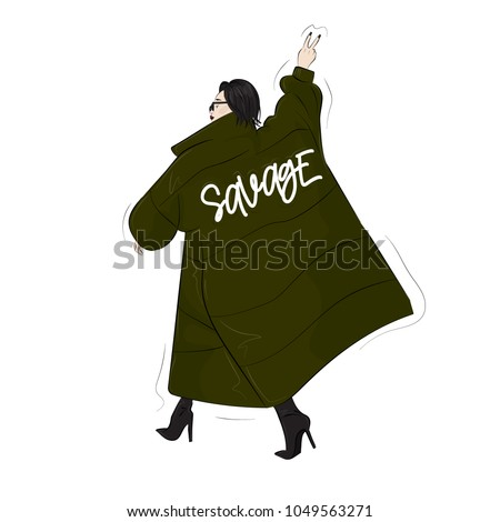 woman in savage green  oversize