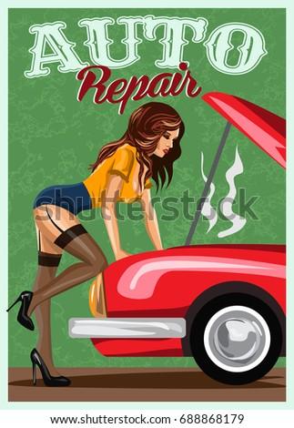 woman in stockings repairing