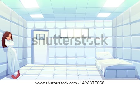 Woman in straitjacket in asylum, girl patient of mentally clinic. Madhouse room with bed, padded soft floor and walls. Psychiatric hospital for people with mental disorder. Cartoon vector illustration Stock photo ©