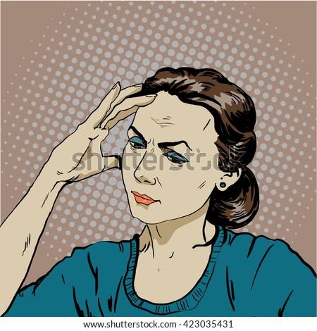 woman in stress has headache