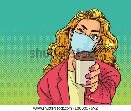 woman in stylish medical face mask and jacket drink coffee from paper cup. Beautiful trendy woman in pink shirt  protective face mask hold disposable cup of coffee or tea. Quarantine lifestyle Foto stock ©