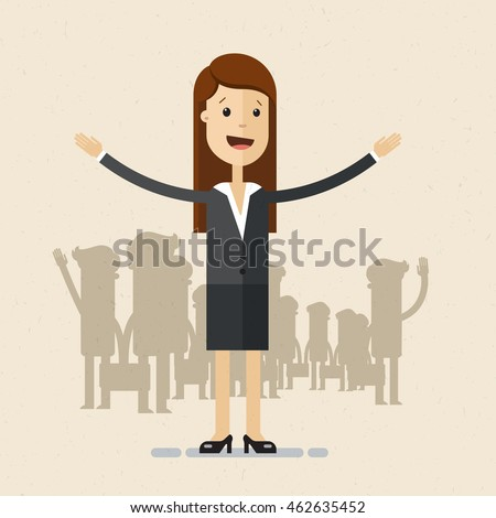 Woman in suit opens his arms. Meeting, welcome concept. Business lady, HR Director, recruiter, manager. Vector, flat, illustration