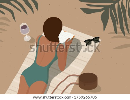 woman in swimsuit lying on