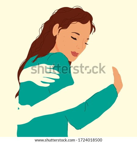 Woman in the arms of an invisible man. Embrace, hugs. Concept of support and love, acceptance. Modern flat vector illustration.
