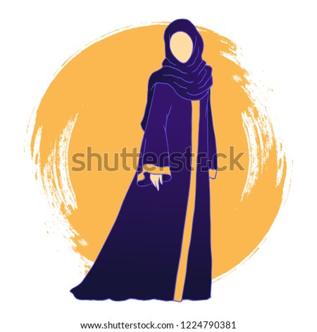 Woman in the dark beautiful dress, Muslim woman in the dark beautiful abaya on the yellow circle