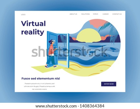 Woman in Virtual Reality Glasses in Exhibition Center. Vector Illustration. White Background. Walk Through Museum. Visit Exhibition. Art Gallery. Watch Exclusive Exhibits. Screen Shot and Logo.