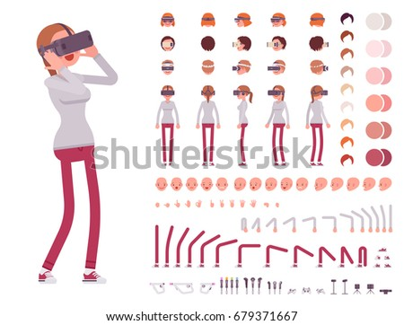 Woman in Virtual Reality headset. VR helmet. Character creation set. Full length, different views, emotions and gestures. Build your own design. Cartoon flat-style infographic illustration