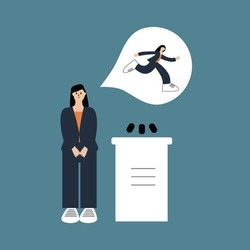 Woman is afraid of giving presentation to the audience. Fear of public speaking or glossphobia. Social anxiety and mental health disorder. Psychology concept. Isolated flat vector illustration