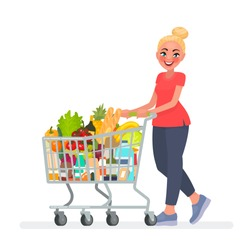 Woman is carrying a grocery cart full of groceries in the supermarket. Vector illustration in cartoon style