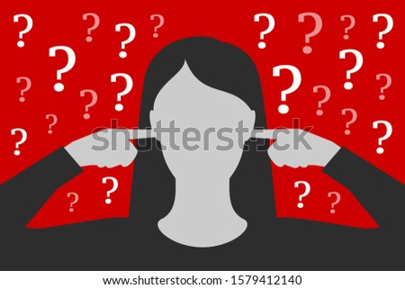 Woman is covering ears with hands, not wanting to listen questions and resolve problems, being tired and overworked, having stress, over depressive red background. Concept of ignoring of problems Stock photo ©