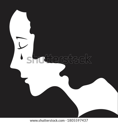 Woman is crying. Abusive, angry man behind her forms a shape of woman's hair. Negative space design. Stop domestic violence concept. Vector illustration and photo image available. Photo stock ©