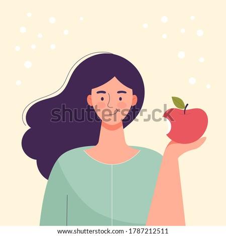 Woman is eating an apple. Diet food, healthy lifestyle, vegetarian food, raw food diet. Student snack. Flat cartoon vector illustration.