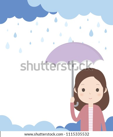 Woman is holding an umbrella and standing in the rain. With Cloudy and Rainy Background.