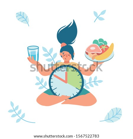 Woman is meditating, sitting in lotus position, holding a plate with healthy food and a glass of water in her hands, waiting for time to eat. Intermittent fasting. Yoga. Patience.