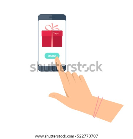 woman is ordering a gift by