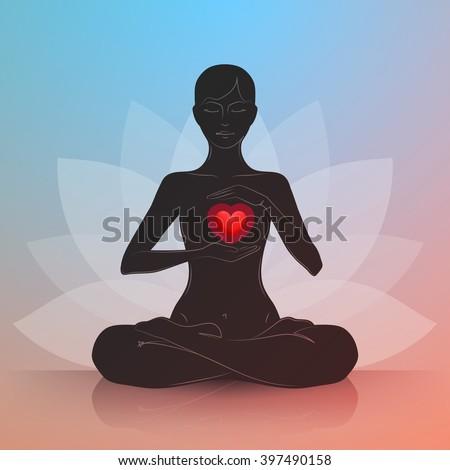 woman is sitting in lotus
