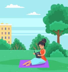 Woman is sitting on grass in the park and reading a book in the open area. Girl spends time outdoors vector illustration. Female character looks at a book in her hands and breathes fresh air