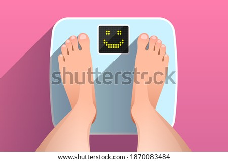 Woman is standing on bathroom scales with happy smiling face on display, over colored background, top view of feet. Weight measurement and control. Concept of healthy lifestyle, dieting and fitness Сток-фото ©