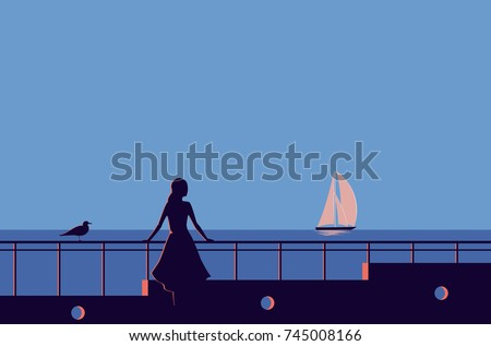 woman is standing on pier and