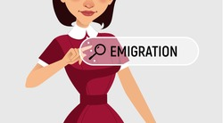 Woman is written EMIGRATION in search bar on virtual screen. Vector illustration, banner