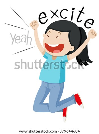 Woman jumping up with joy illustration
