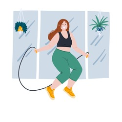 Woman jumps with skipping rope at gym, does training exercises. Flat cartoon hand drawn body positive, well-being and self acceptance concept illustration.