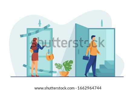 Woman knocking to locked and closed door flat vector illustration. Man entering open door and walking up stairs. Inequality in career, business opportunities. Social problem and discrimination concept Сток-фото ©