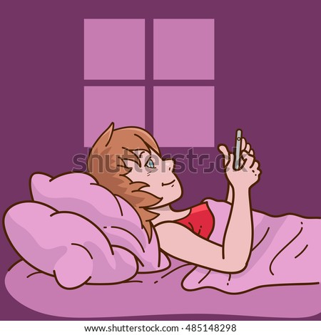 woman laying in bed using phone