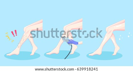woman leg hair removal on the blue background