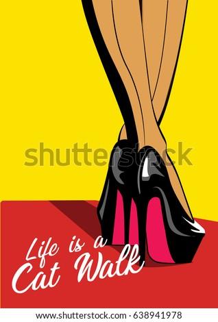 woman legs in fashion high